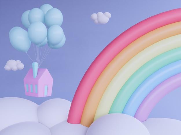 Accueil avec ballon flottant dans le fond de rendu sky.3d. Photo Premium