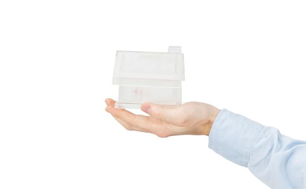 Accueil Dans Des Mains Humaines Sur Blanc Photo Premium