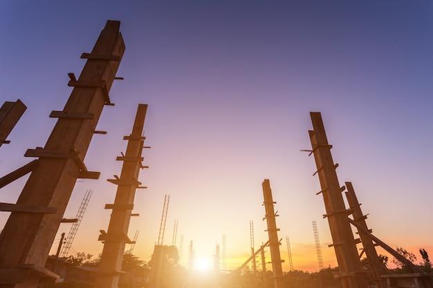 Acier pour barres d'armature pour pilier ou poteau en construction Photo Premium