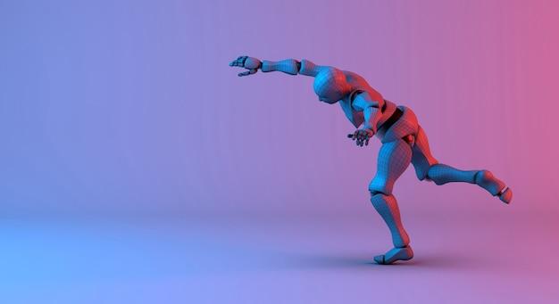 Action filaire robot lancer sur fond dégradé rouge violet Photo Premium