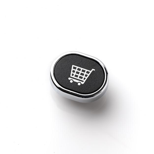 Affaires, marketing & icône de concept de stratégie de magasinage en ligne sur le clavier de l'ordinateur Photo Premium