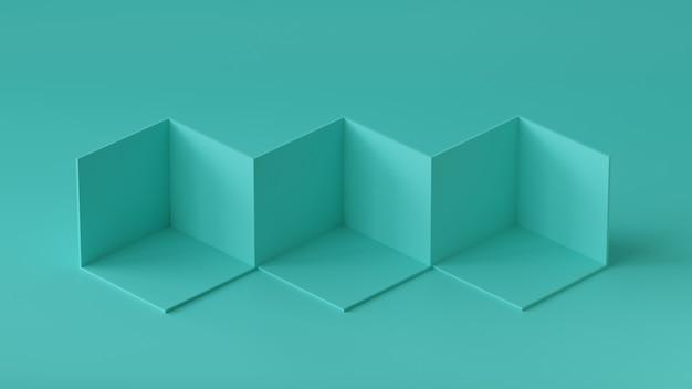Affichage de la toile de fond des boîtes de cube sur fond de mur blanc. rendu 3d. Photo Premium