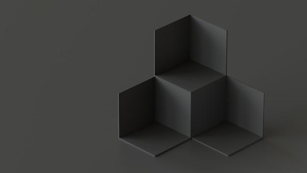 Affichage de la toile de fond des boîtes de cube noir sur fond noir. rendu 3d. Photo Premium