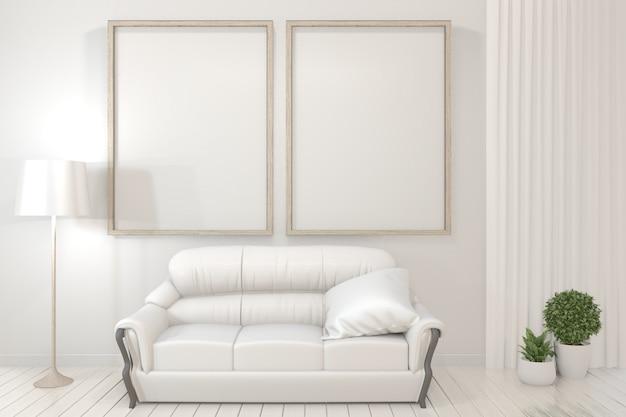 Affiche intérieure cadres en bois, canapé, plante et lampe dans la salle de séjour avec un design minimal mur blanc. Photo Premium