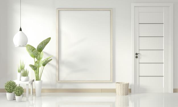 Affiche intérieure maquette avec cadre en bois se tenant debout sur le plancher en bois et les plantes de décoration Photo Premium