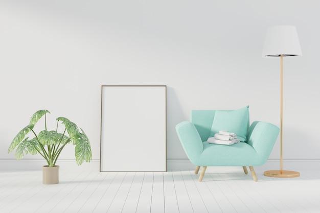 Affiche maquette avec cadre debout sur le sol dans le salon. rendu 3d. - illustration Photo Premium