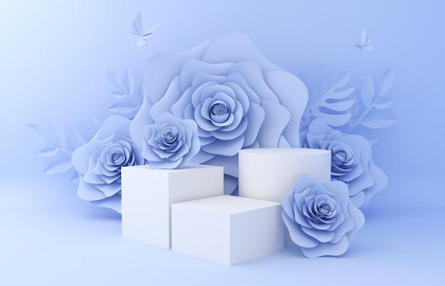 Afficher le fond pour la présentation du produit cosmétique. vitrine vide, rendu 3d illustration papier fleur. Photo Premium