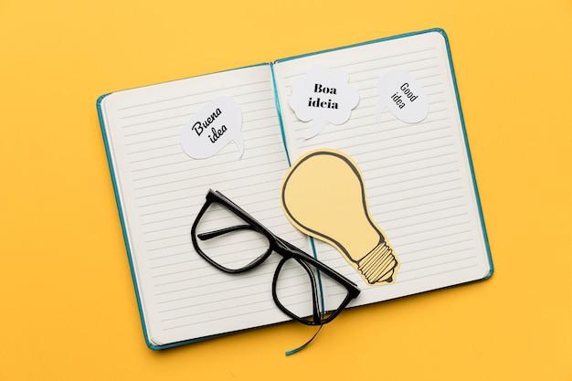 Agenda Avec Des Idées Sur Le Bureau Photo Premium