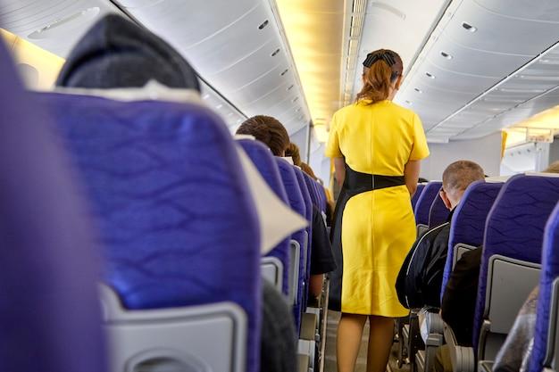 Agents de bord flous, hôtesse de l'air Photo Premium