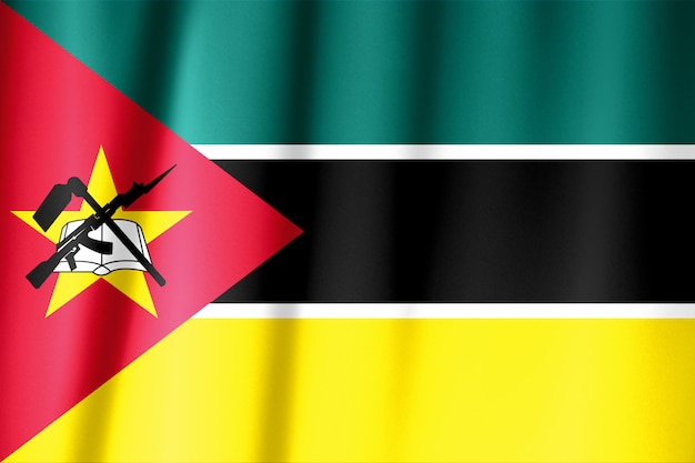 Agitant Le Drapeau Du Mozambique. Le Drapeau A Une Vraie Texture De Tissu. Photo Premium
