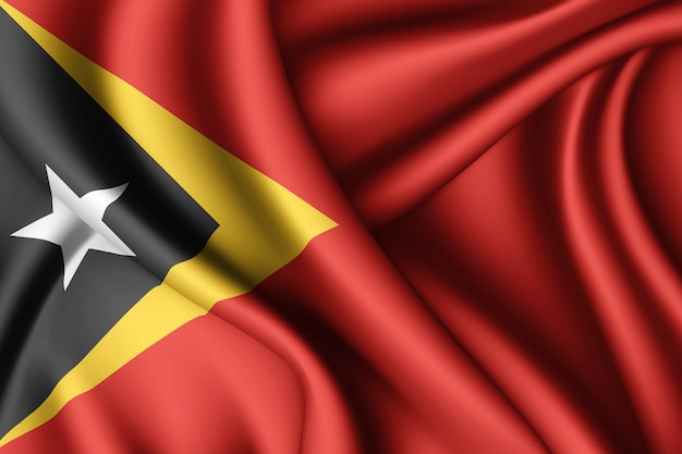Agitant Le Drapeau De La Soie Du Timor Oriental Photo Premium