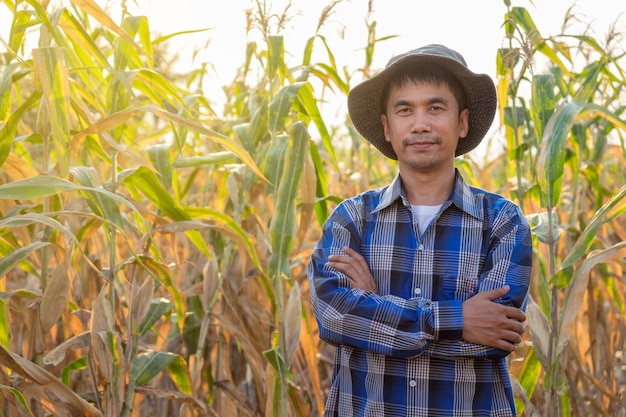 Agriculteurs asiatiques mâle debout dans une ferme de maïs en thaïlande Photo Premium