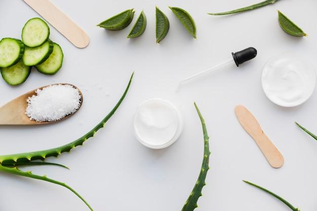 Aloe vera et concombre avec crème de beauté Photo gratuit