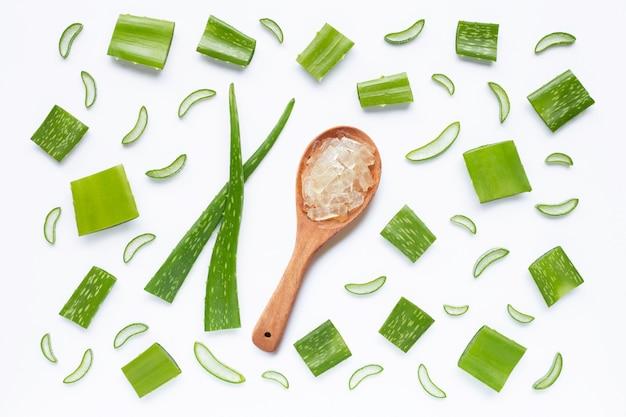 L'aloe vera est une plante médicinale populaire pour la santé et la beauté, sur fond blanc. Photo Premium