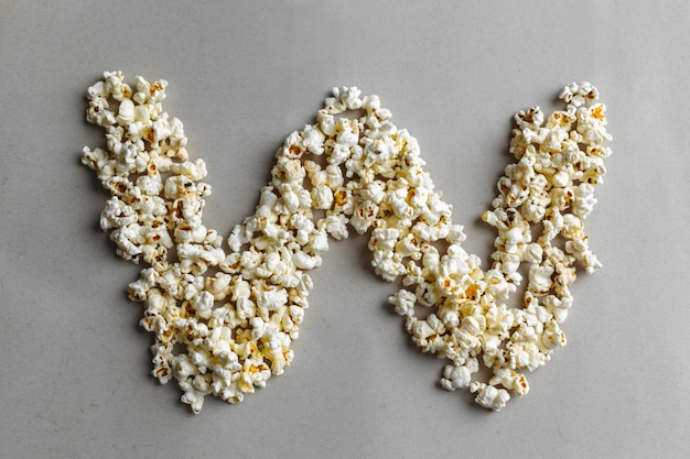 Alphabet popcorn, isolé Photo Premium