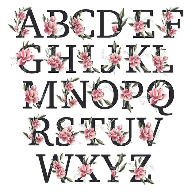 Alphabet printemps fleur de magnolia Photo Premium