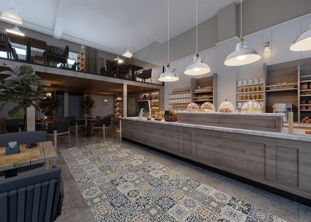 Aménagement Intérieur D'un Restaurant, Sol En Céramique Photo Premium