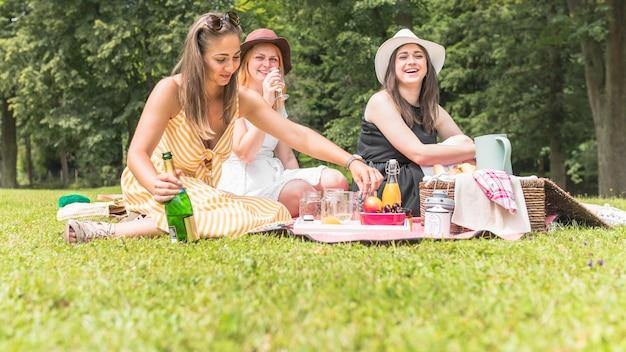 Amies appréciant boissons et fruits en pique-nique Photo gratuit