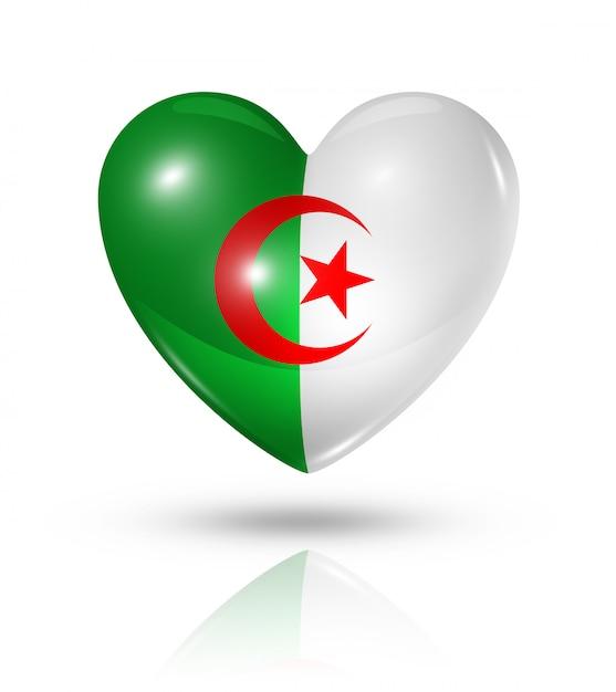 Amour Algérie Cœur Icône De Drapeau Photo Premium
