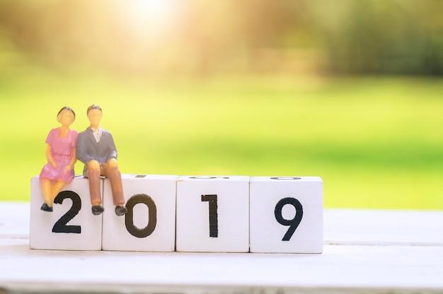 Amour couple de dessin animé assis sur un bloc de bois avec 2019, Photo Premium