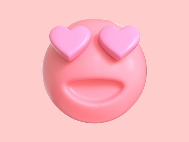 Amour émotion Dessin Animé Personnage Rose Emoji Rendu 3d Photo Premium