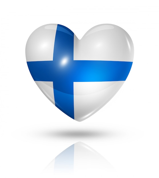 Amour Finlande Icône De Drapeau De Coeur Photo Premium