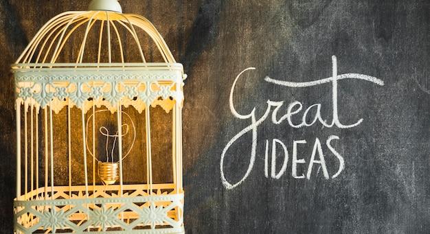 Ampoule dans la cage éclairée avec texte de bonnes idées sur tableau noir Photo gratuit