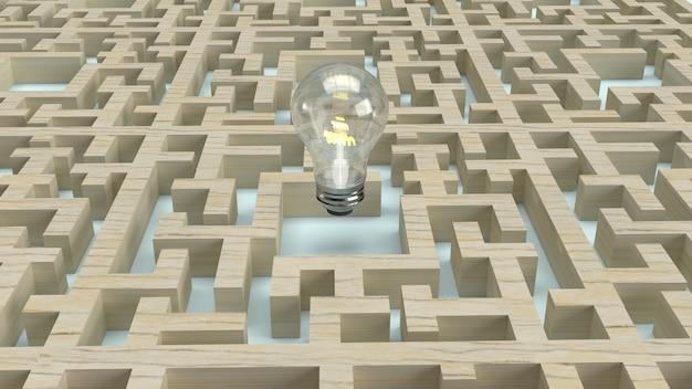 Ampoule Dans Le Labyrinthe En Bois Photo Premium