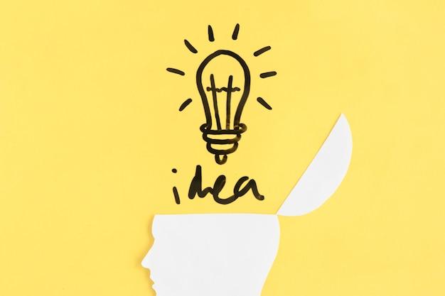Ampoule éclairée avec le mot idée sur le cerveau humain ouvert sur fond jaune Photo gratuit