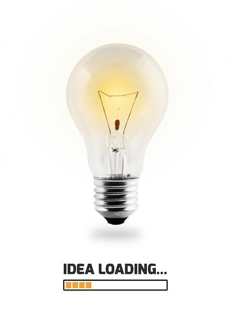 Ampoule s'allume avec le texte Photo Premium