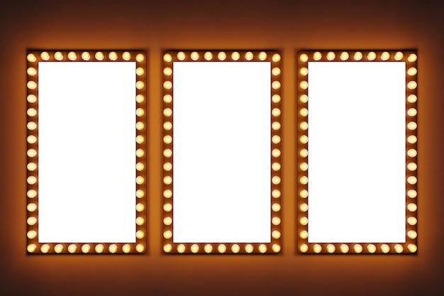 Les Ampoules Jaune Vif Dans Une Rangée Sous Forme De Rectangles Sont Allumées Sur Un Fond Isolé Brun. Trois Rectangles Blancs Autour Desquels Les Ampoules Brillent Photo Premium