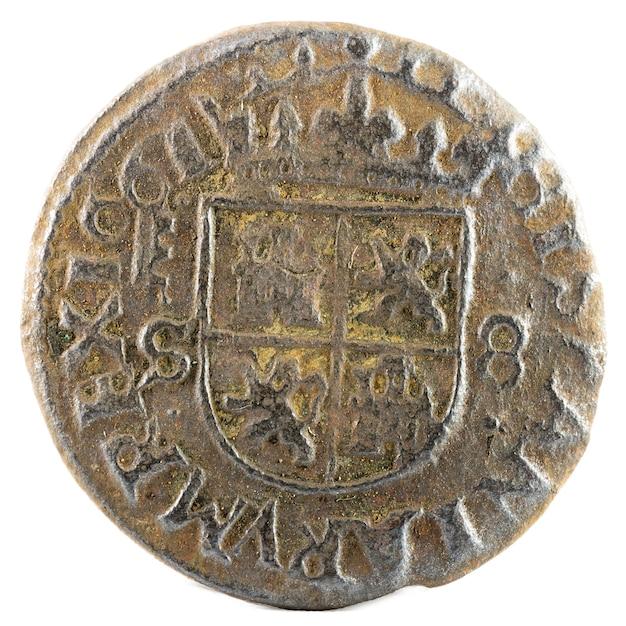 Ancienne Pièce De Monnaie Espagnole En Cuivre Du Roi Felipe Iv. Inventé à Ségovie. 8 Maravedis. Photo Premium