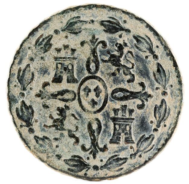 Ancienne Pièce De Monnaie Espagnole En Cuivre Du Roi Fernando Vii. Photo Premium
