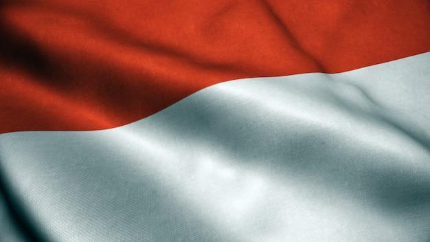 Animation 3d du drapeau indonésien. Photo Premium