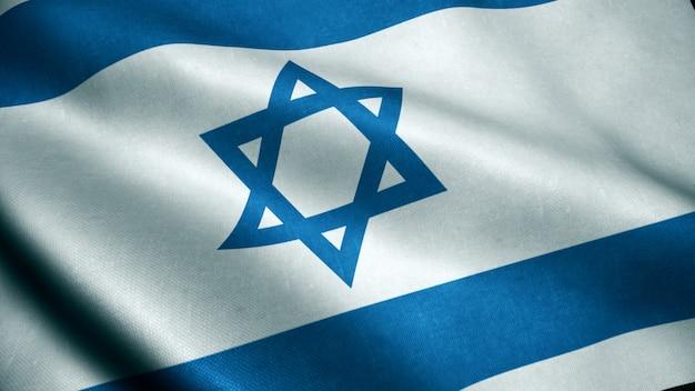 Animation 3d du drapeau d'israël. Photo Premium
