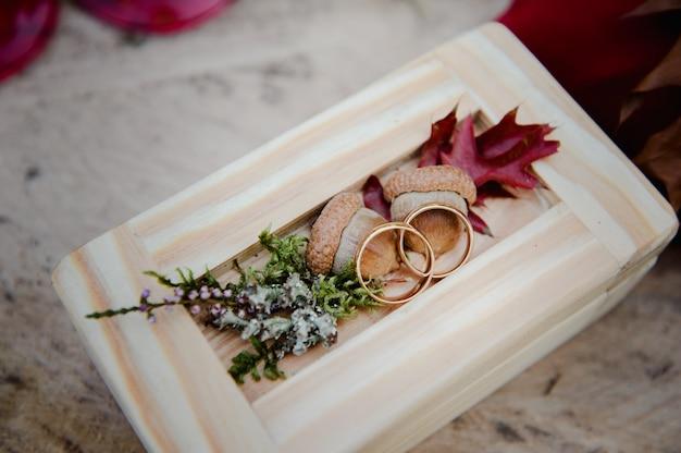 Anneaux de mariage dans une boîte en bois avec des glands. cérémonie de mariage. anneaux sur le moignon. Photo Premium