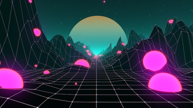 Années 80 paysage de fond futuriste rétro synthwave Photo Premium