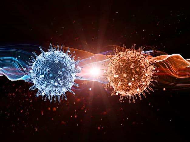 Antécédents médicaux 3d avec des cellules virales abstraites Photo gratuit
