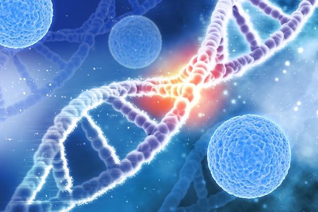 Antécédents Médicaux 3d Avec Des Cellules De Virus Et Des Brins D'adn Photo gratuit