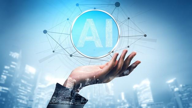 Apprentissage De L'ia Et Intelligence Artificielle. Photo Premium