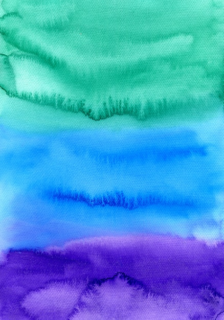 Aquarelle Abstraite Peint L'arrière-plan. Texture Colorée Dans Les Couleurs Vert, Bleu Et Violet. Photo Premium