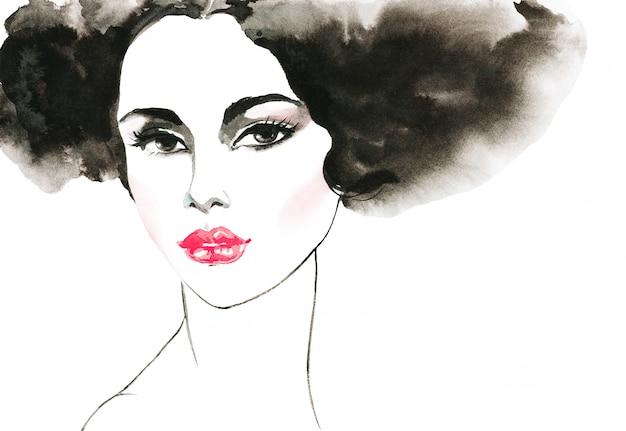 Aquarelle Beauté Jeune Femme. Portrait Dessiné De Main De Dame Aux Lèvres Roses. Illustration De Mode De Peinture Isolée Photo Premium