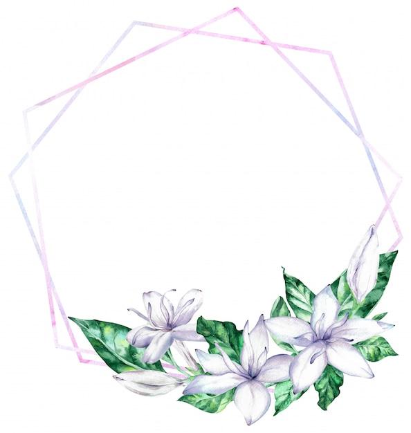 Aquarelle cadre avec des fleurs de café blanc et des feuilles vertes. Photo Premium