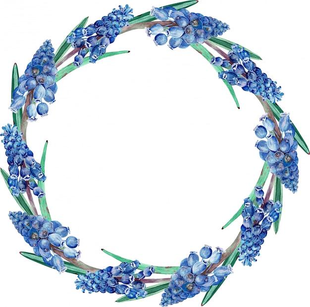 Aquarelle cadre floral bleu foncé. Photo Premium