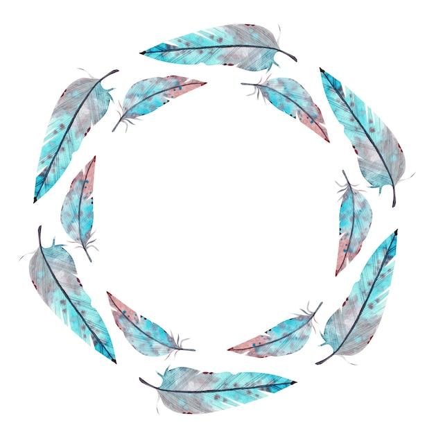 Aquarelle cadre rond en plumes bleues et roses. illustration aquarelle Photo Premium