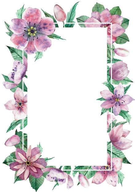 Aquarelle, Cadre Vertical Floral Avec L'espace De Copie Blanc Central Pour Le Texte Photo Premium