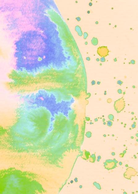 Aquarelle demi cercle coloré avec des taches sur fond beige Photo gratuit