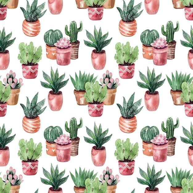 Aquarelle dessin collection de cactus dans le modèle sans couture de pots Photo Premium