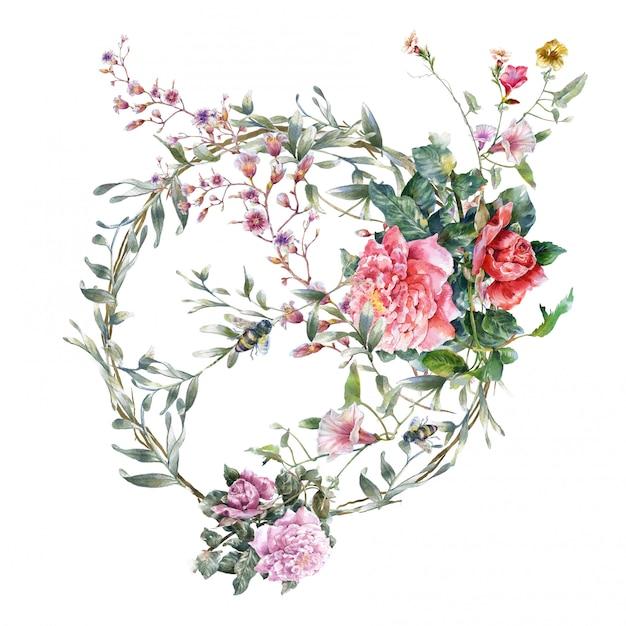 Aquarelle de feuilles et de fleurs sur blanc Photo Premium