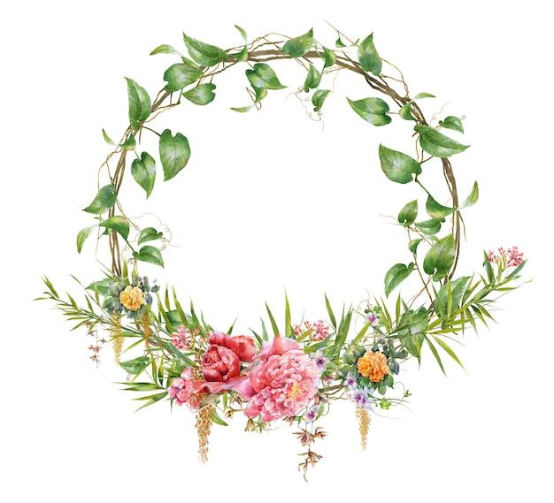 Aquarelle de feuilles et de fleurs, avec cercle sur blanc Photo Premium